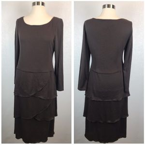 Adrianna Papell Petite Brown Tiered Knit Dress